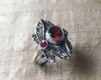 Garnet and Rubies- Three Stone Dragonfly Ring