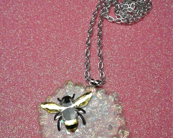 Bee Necklace honeycomb glitter jeweled bee