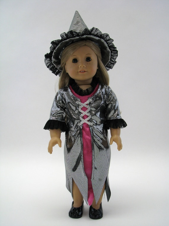 Black Sparkle & Hot Pink Witch Costume - 18 Inch Doll Clothes