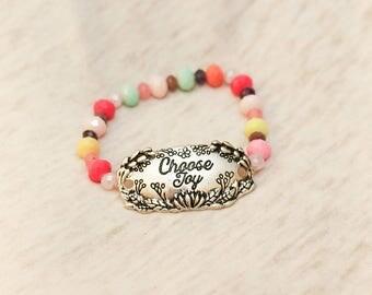 Choose joy, colorful bracelet, choose joy charm, stack jewelry, stack bracelet, stocking stuffer teen girl, happy jewelry, bead bracelet