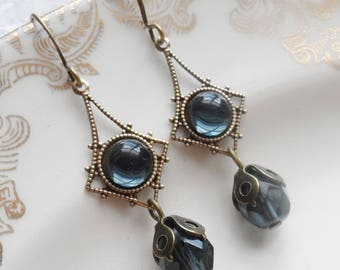 75% Off Clearance Sale, Navy Blue Vintage Glass Earrings