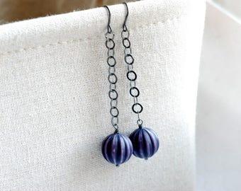 Purple Earrings, Pumpkin Earrings, Autumn Jewelry, Halloween Earrings, Long Dangle Earrings, Statement Earrings, Lucite Earring