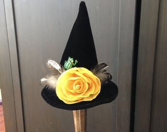 Halloween Mini Witch Hat Autumn Frog Feather Fascinator