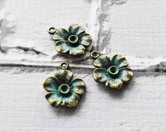 Antique Brass Verdigris  Flower Charms- Boho Brass Blossom Charms Blue Green Patina-  Antiqued Jewelry Supply- Set of 10