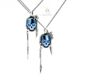 Sweet Jane or Johnny Rotten // Blue Chrome Swarovski Skull and Sterling Silver Pendant, by BellaLili, Welded Silversmith