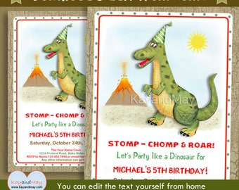 Dinosaur invitation - cute prehistoric themed printable birthday party invite - T-Rex dinosaur - INSTANT DOWNLOAD #P-11 - with editable text