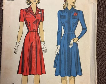 Vintage Wartime Misses' Tailored Dress Sewing Pattern DuBarry 5217 in size 14, Bust 32 Complete