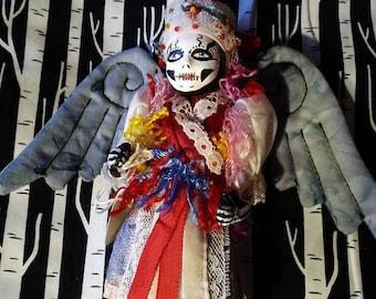 Skeleton Doll Lucretia the Gothic Horror Angel Day of the Dead repurposed altered Art Doll