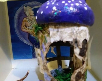 Little Purple Mushroom Hut Fairy House Made out of Birch Bark Great for Holiday Gift