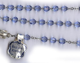 vintage blue ROSARY beads STERLING english cut vintage glass ornate medal signed sterling all sterling wire and medal too religious gift