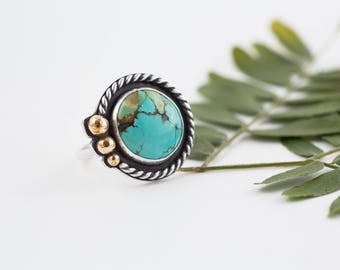 In Orbit Ring, Cloud Mountain Turquoise, Silver Turquoise Ring, Mixed Metal, OOAK, Earth, Size 6.5 , Gifts for Her, Brass, Global