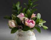 White Ceramic Stoneware Vase - Handmade - Wheel Thrown - Garden - Herb - Dill - Large Tea Bowl Shape