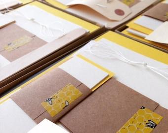 Bee Themed Bookbinding Kit, Yellow & Black DIY Book Binding Kit