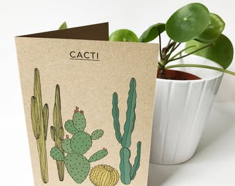 cacti card - cactus illustration - cactus collection - plant print - recycled eco friendly kraft card