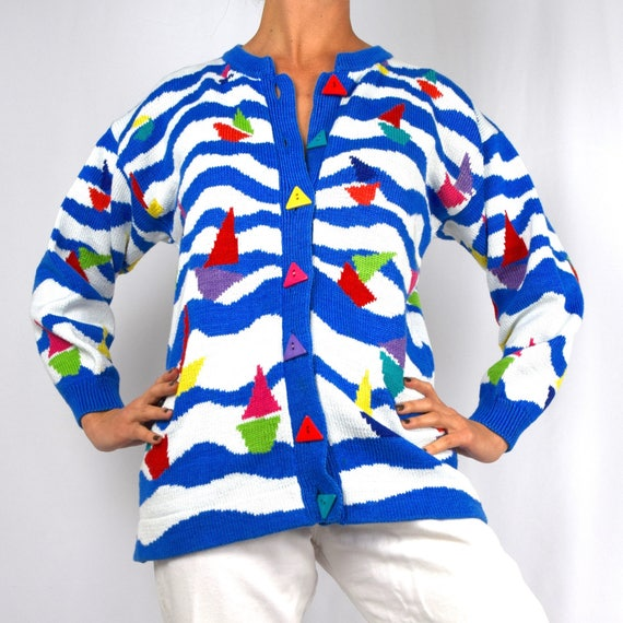 Vintage 80s 90s Sailboat Parade Novelty Knit Oversized Cardigan