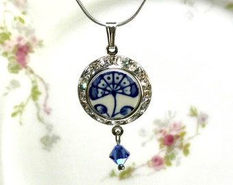 Broken China Jewelry Necklace, Blue Onion China, Navy Blue Wedding Necklace, Gift from England, Blue and White China