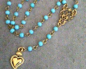 Milagro Heart Y Lariat Necklace ~ Corazon Milagros Heart Antique Gold ~ Love Jewelry ~ Ex Voto Milagro Heart Turquoise Beads