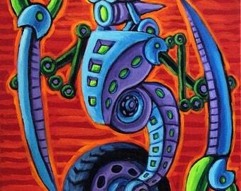 Scythe Cycler Robot Painting 18x24 Acrylic on Canvas