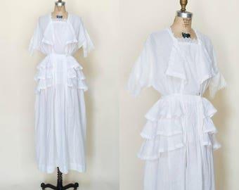 Antique Edwardian Wedding Dress --- 1900s White Cotton Lawn Dress