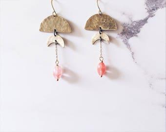 Half moon crescent moon earrings, brass & strawberry quartz gemstones, moon phases earrings gypsy chic