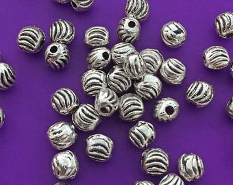 50 Corrugated Lentil Beads, Antique Silver Tone, About 5mm x 5mm with a 1.25mm hole - TS625B