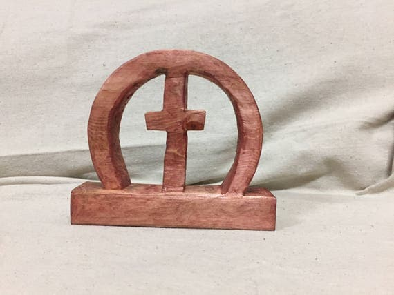 A. Circle of Love Wooden Cross | Rose Color Stain Wooden Heart