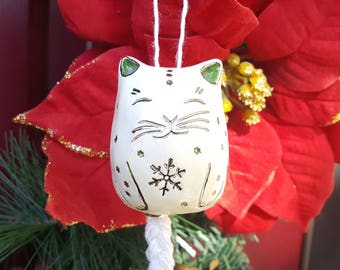 White Cat Ornament, Christmas Cat Bell, Silver, Green and White