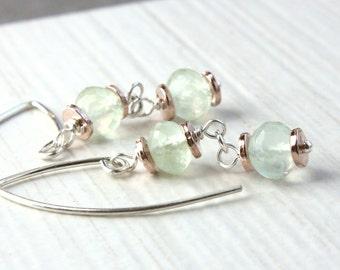 Prehnite Earrings Sterling Silver Mixed Metal Gemstone Jewelry Pastel Green Earrings Gem Jewelry Stone Jewellery Rose Gold Vermeil