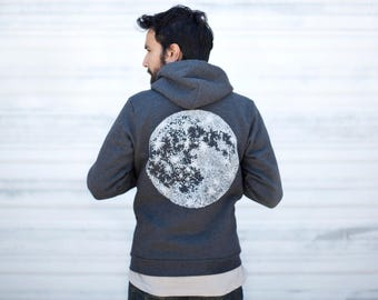 Full MOON zip up hoodie. unisex sweatshirt. men or women. fall fashion. moon screenprint on heather black zip hoodies. moon sweatshirt