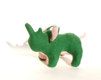 A Green and Pink Cashmere Rhinoceros