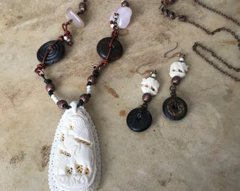 Elephant Pendant Necklace | Carved Bone | Wood | Gemstones