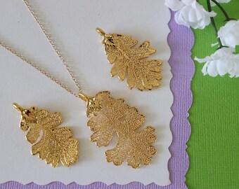 Gold Lacey Oak Leaf Necklace, Real Leaf Necklace, Oak Leaf, Gold Leaf Necklace, Long Leaf, Leaf Pendant LC207