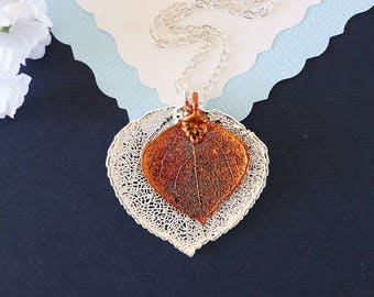 Double Aspen Leaf Necklace, Aspen Leaf Necklace, Double Leaves, Silver Leaf, Copper Leaf, Real Leaf, DLC98