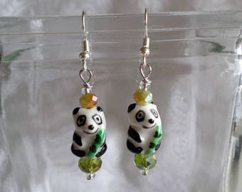 Panda Bears Holding Bamboo Earrings