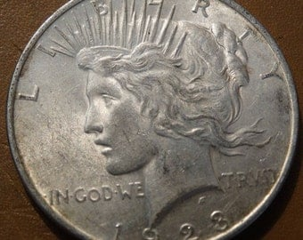 1923 Peace Silver Dollar Coin antique coins for Jewelry Jeweler Numismatic Coinage Retro Americana Coinage 1920's Money Liberty Art Lot #31