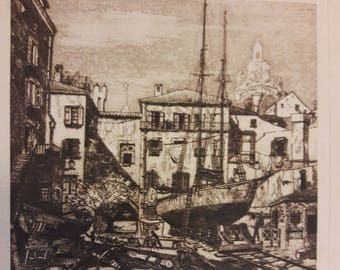 Vintage Original Etching by Lionel Barrymore of Little Boatyard, Venice 1970's