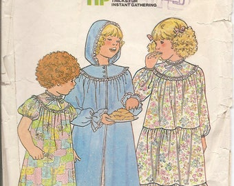 Butterick 6354 Girls Nightgown and Bathrobe Sizes 5-6-6x