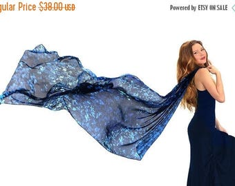 SALE Navy Scarf, Floral Shawl, Fall Shawl, Hand Painted Shawl, Neck Accessory, Bohemian Accessories For Her, Printed Shawl, Blue Silk Shawl