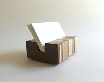 Wood Business Card Holder - Office Decor - Office Supplies
