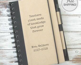 Personalized Teacher Gift, Teacher Journal, Back to School Supplies, Personalized Notebook, Personalized Journal, Teacher Appreciation TS1
