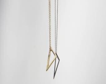 Astrid, pave diamond necklace, 14k gold minimalist necklace, triangle diamond necklace, dainty diamond necklace, minimalist diamond necklace
