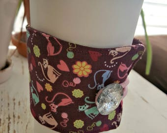 Meow Kitty Cat Java Jacket/Coffee Sleeve with Vintage Button