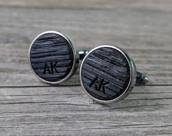 Cufflinks Crafted from a Bourbon Barrel - Custom Engraved! Personalize with Initials of Your Choice! Excellent Gift for the Whiskey Lover!