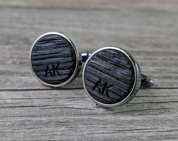 Featured listing image: Cufflinks Crafted from a Bourbon Barrel - Custom Engraved! Personalize with Initials of Your Choice! Excellent Gift for the Whiskey Lover!