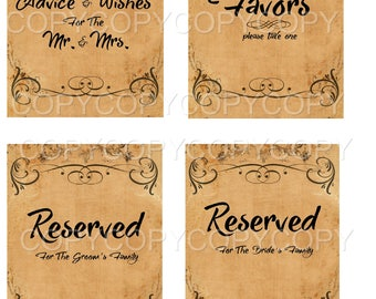 Set of 8 Full Size Printable Vintage Wedding Signs 101  - 8.5 X 11  inches -  Printable Digital Collage Sheet - Digital Download