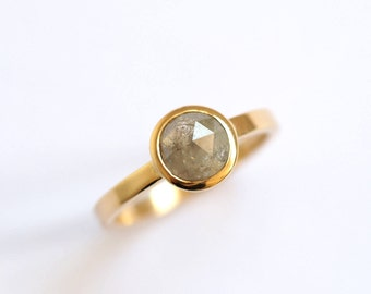 Diamond Solitaire Ring, 1.2ct Natural Rose Cut Diamond Ring, Handmade 9ct Yellow Gold, Single Stone Ring, Engagement Ring, RockCakes