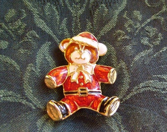 Santa Bear Pin Brooch Vintage