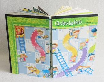 Chutes and Ladders Journal Recycled Game Board Book Upcycled Snakes and Ladders Board Game Notebook by PrairiePeasant