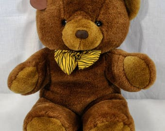 """Vintage Cuddle Wit Bear - Brown With Bow Tie Plush Stuffed Animal Tags 18"""" Tall - 1992"""