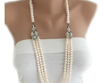 Multi Strand Layered Freshwater Pearl Necklace Free Shipping WW